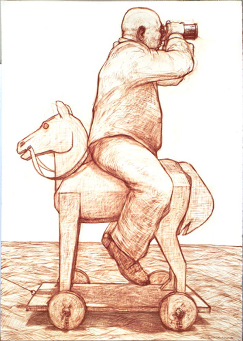 Hobby Horse dada, 2006 sanguine chalk on paper 165 x 107cm