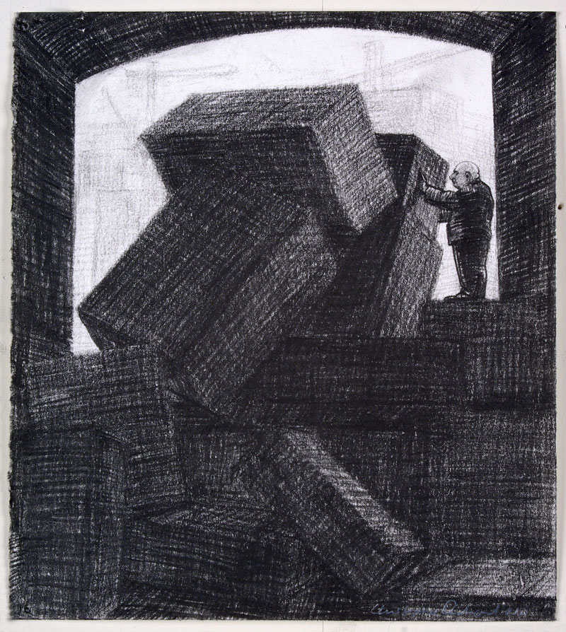 Tumble, 2010 charcoal on paper 165 x 140cm