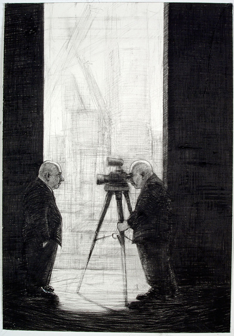Interview, 2009 charcoal on paper 430  x 300cm