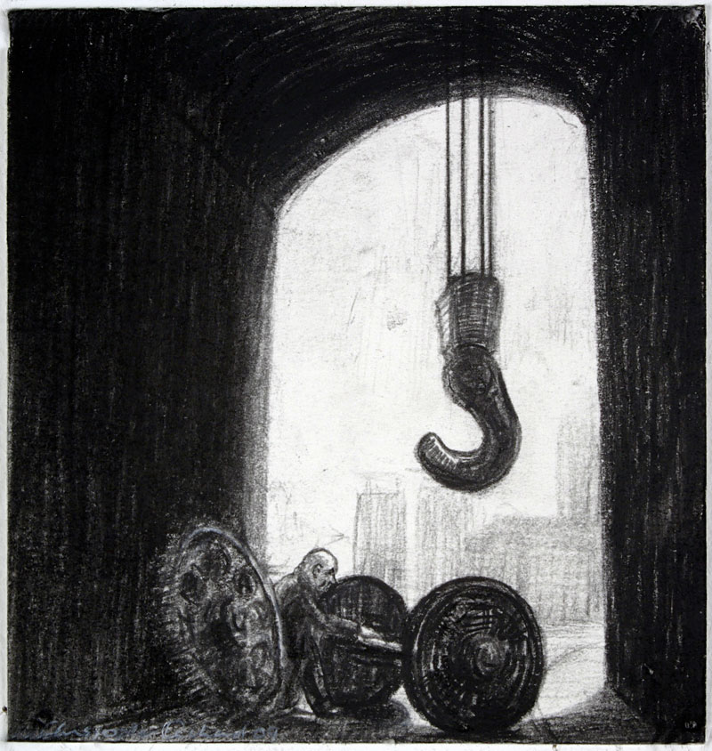 Hook, 2009 charcoal on paper 115  x 110cm