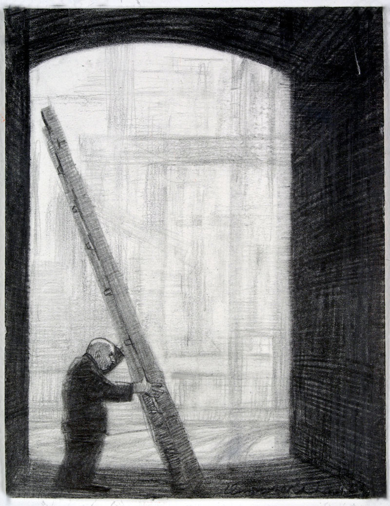 Ladder, 2009 graphite on paper 140  x 110cm