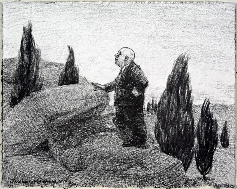 2011 Tumble Charcoal on paper, 15x19cm