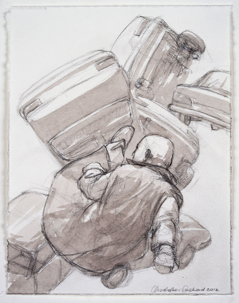 2012 Thrown 7 Charcoal pencil and wash on paper, 20x15cm